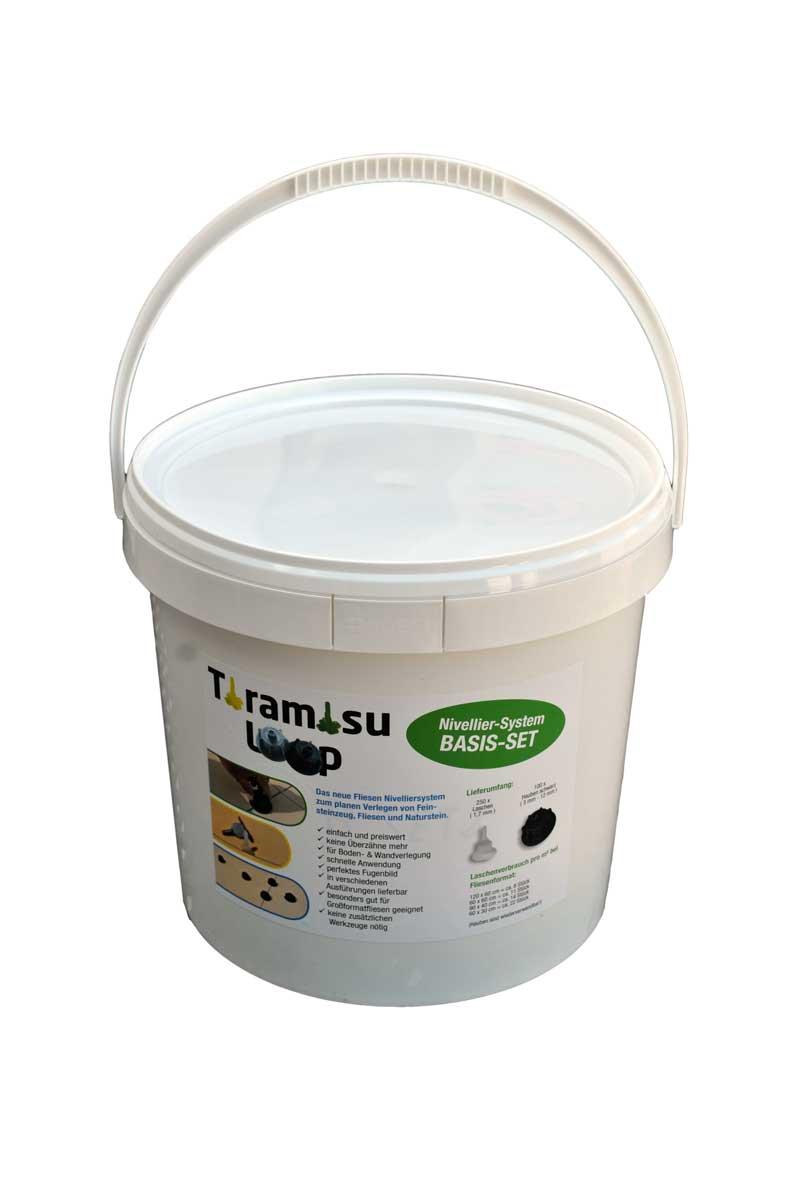 Tiramisu Fliesen Nivelliersystem Basis Set 1 mit 250 Laschen & 50 Hauben Grau für 12-20mm starke Platten
